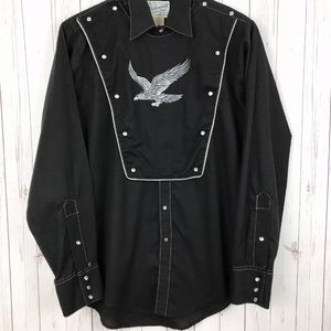 Rockmount USA Black Pearl Snap Eagle Embroidery